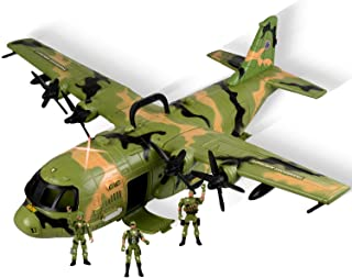 WolVolk Giant C130 Bomber Military Combat Fighter Airforce Airplane Toy with Lights and Army Sounds for Kids, with Mini Soldiers