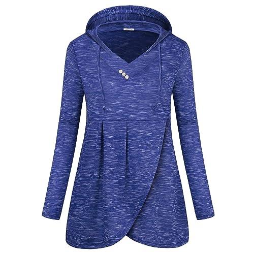 56a53e13f67 SeSe Code Women Long Sleeve V Neck Hooded Asymmetric Hem Casual Tunic  Sweatshirt
