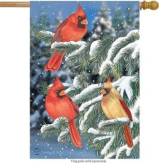 "Briarwood Lane Winter Cardinal Trio House Flag Snowy Scene 28"" x 40"""