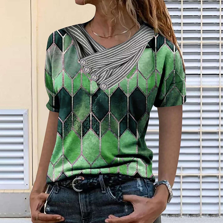 soyienma T Shirts for Womens,Women Casual Zipper Shirts Lapel Workout Print Tops Short Sleeves Shirt Summer Blouse Tees