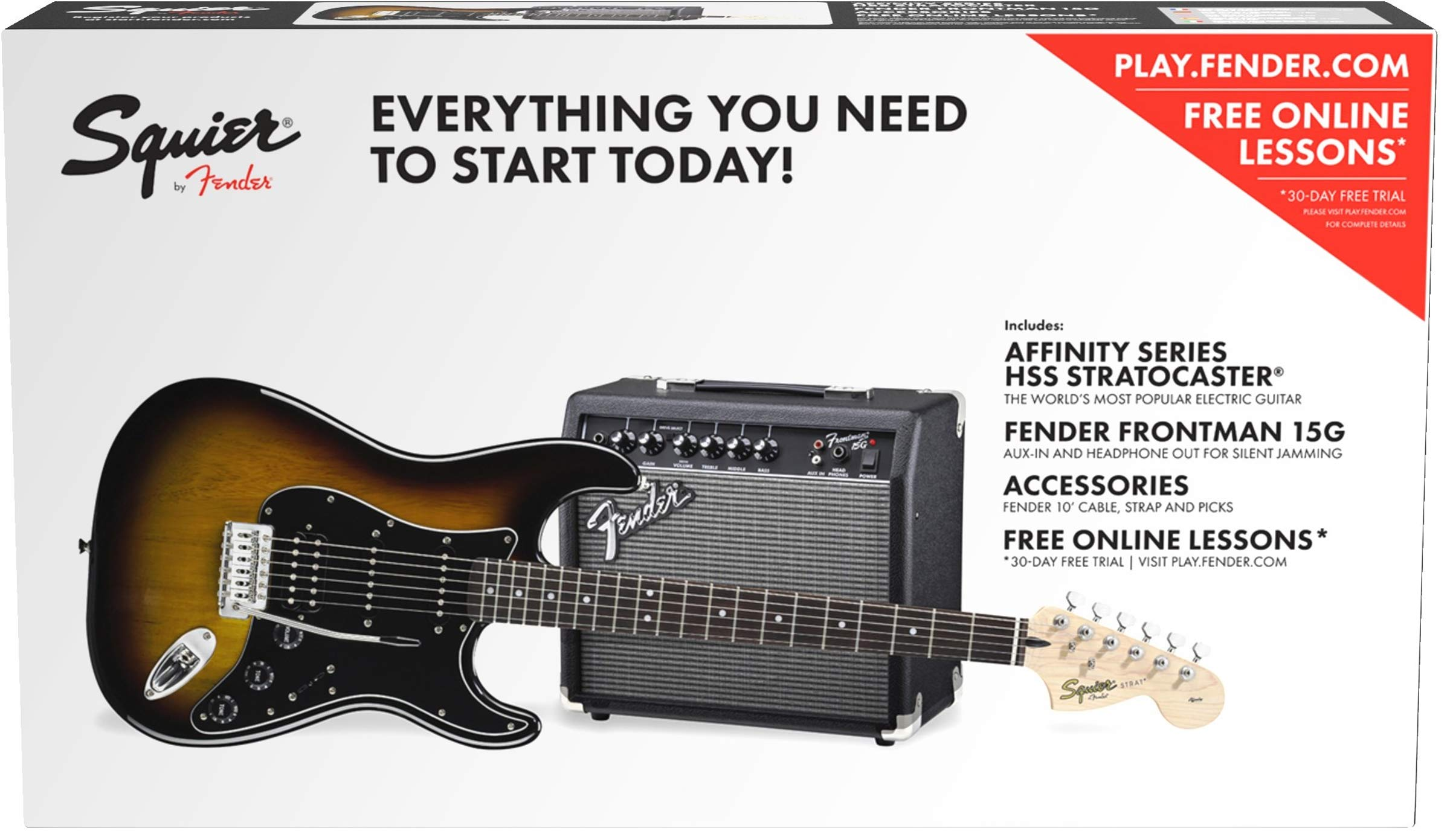 Cheap Squier by Fender Affinity HSS Stratocaster Beginner Electric Guitar Pack Black Friday & Cyber Monday 2019