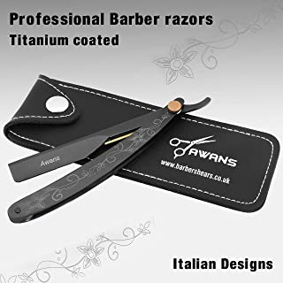 Straight Shaving Razor Cut Throat Barber Shaving Razor, Laser Engraved Titanium Black Handle, Professional Or Personal Use Men's Shaving, Salon Shaving Razor Stainless Steel