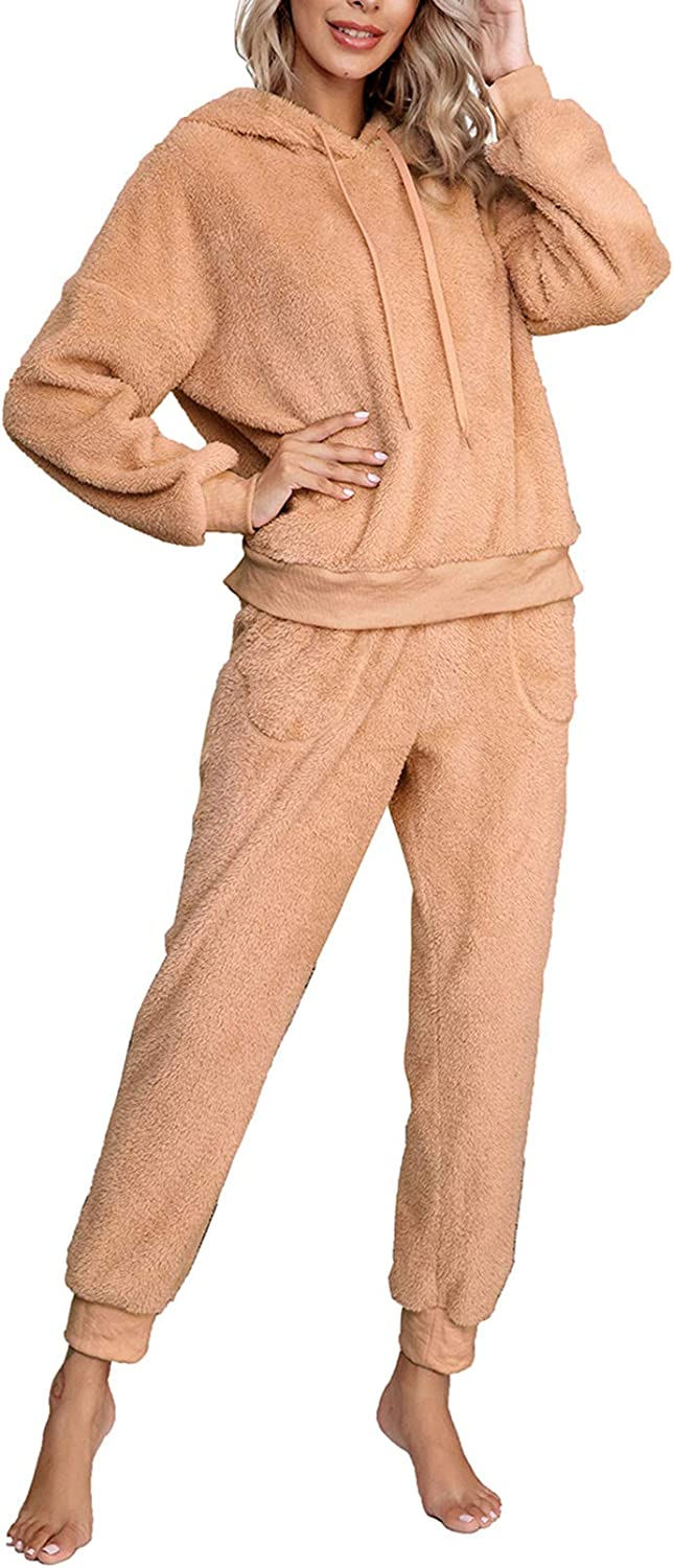Fixmatti Womens 2 Piece Fuzzy Sweatsuit Long Sleeve Hoodies Sweatpants Tracksuit Sets