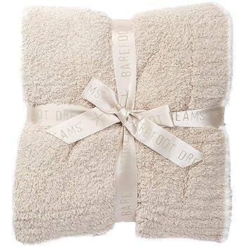 "Barefoot Dreams Contrast Trim Throw Blanket 45"" x 60"" (Stone/White)"
