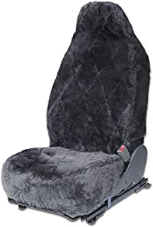 OxGord Sheepskin Seat Covers (Single Bucket) Wool Sheep Skin Shearling Car Accessories Best for Front Bucket Auto Seats Cover on Cars Truck SUV Van - Real Lambs Lambskin Gray Fleece Plush Cushion