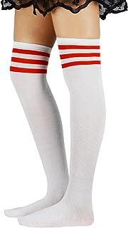 Durio, Medias hasta la rodilla para mujer, color blanco, con 3 rayas, por encima de la rodilla, extra largas, para niña