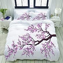 LUNASVT Branch of a Flourishing Sakura Tree Flowers Cherry Blossoms Spring Theme Art Decorative Custom Design 3 PC Bedding Set 1 Duvet Cover with 2 Pillow Shams King