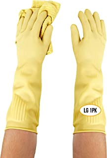 Long Biodegradable Latex Rubber Gloves (LG 1PK) — Long and Thick All Purpose for Cleaning, Dish Washing and Hand Protectio...