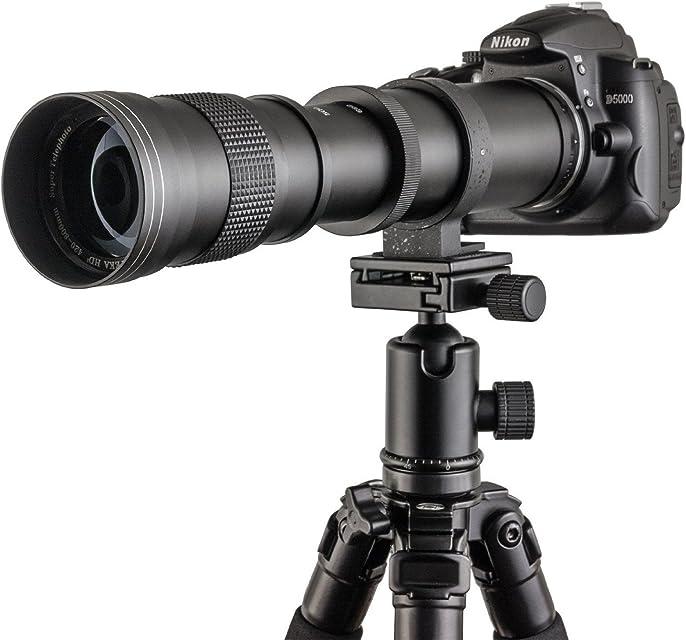 Fotga - Objetivo telescópico vario con zoom Super Tele Zoom 420-800 mm f/83-16 para Canon EOS 1D 5D 6D 7D 10D 20D 30D 40D 50D 60D 100D 300D 350D 400D 450D 500D 550D 600D 700D 1000D 1100D 1200D y más cámaras réflex DSLR/SLR