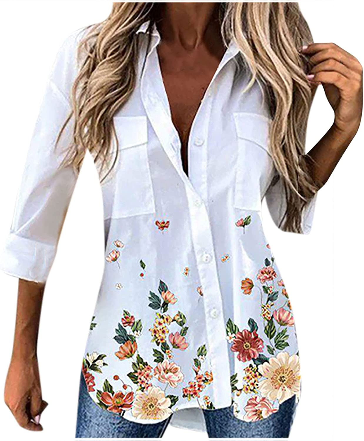 Tpingfe T-Shirt for Women Floral Print Tops Lapel Neck Vintage Causual Business Office Dress Shirt Adult Teen Blouse