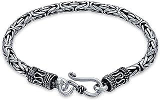 Bali bizantino catena catena braccialetto occhio e gancio anticato 925 sterling argento per donne uomini teen realizzato a...