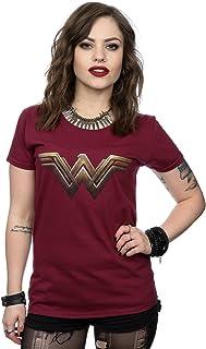 DC Comics mujer Wonder Woman Logo Camiseta Large borgoña