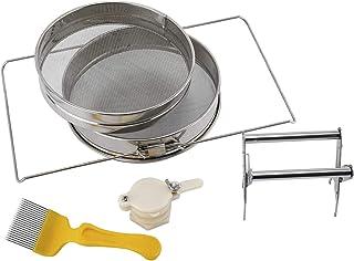 NiceDD Doppelsieb-Honigsieb Edelstahl-Honigernte-Starter-Kit - Doppelsieb-Honigsieb, Honey Flow-Mundventil, Honigmesser, Rahmenclip