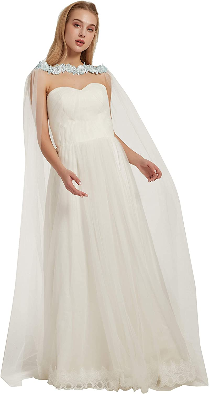 Tulle Shoulder Cape Veil Applique Church Bridal Veil Pearls Wedding Veil Cape Cloak