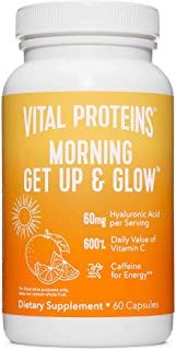 Vital Proteins Morning Get Up and Glow Capsules, 90mg Caffeine for Energy & Vitamin C & Biotin & Hyaluronic...