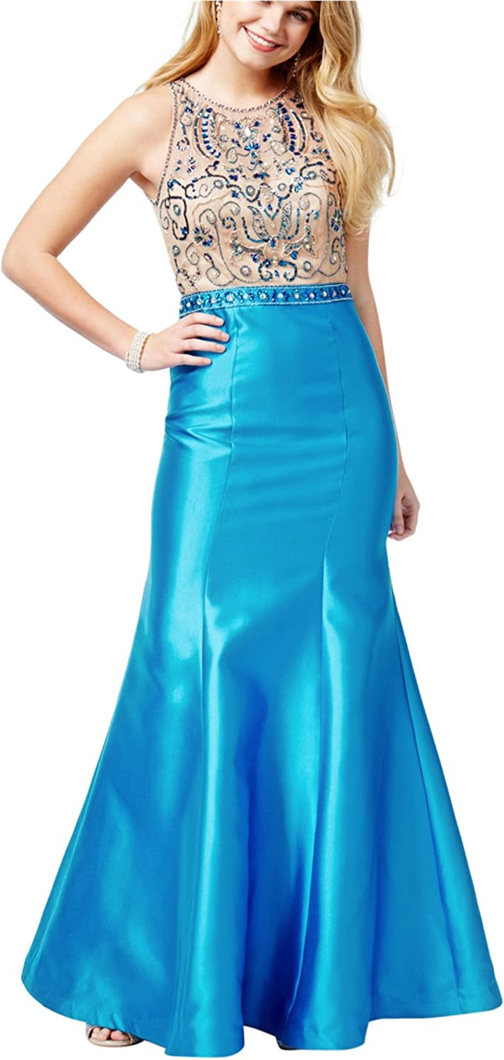 Say Yes To The Prom Womens Beaded Gown Dress