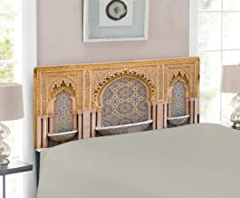 Ambesonne Moroccan Headboard, Typical Moroccan Tiled Fountain in The City of Rabat Near Hassan Tower, Upholstered Decorative Metal Headboard with Memory Foam, for Twin Size Bed, Apricot Pale Brown