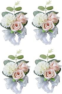 MOJUN Wedding Bridal Bridesmaid Wrist Flower Corsage Wedding Planner Wrist Corsage Hand Flower, Pack of 4