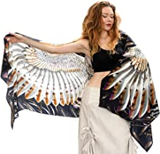 Pure Silk Wearable Artistic Hand Painted Bird Wing Feather Scarf