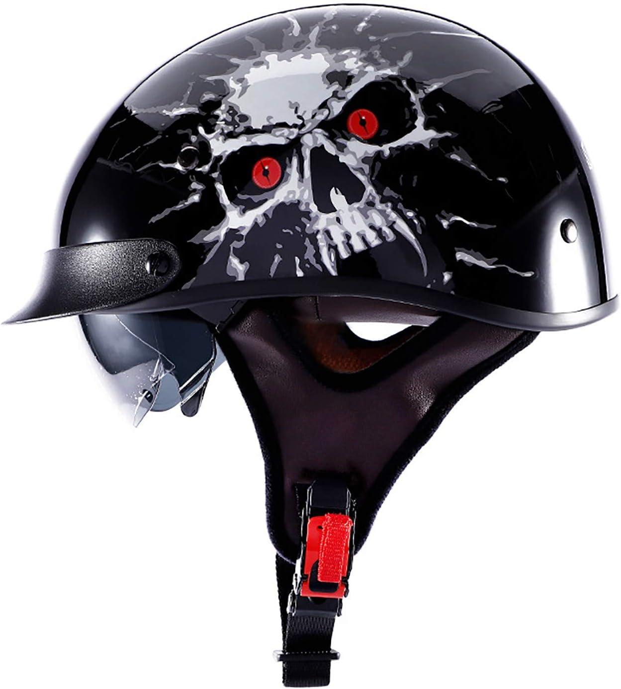 Classic Motorcycle 25% OFF Half Helmet Cruiser Bike A Black DOT Chopper Large special price !!