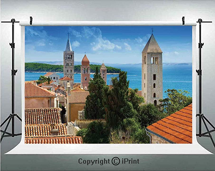 Cityscape Photography Backdrops Aerial View of Old Town Croatia with Historical Towers Heritage Art Print Decor,Birthday Party Background Customized Microfiber Photo Studio Props,8x8ft,Multi