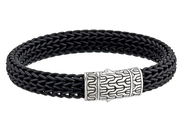John Hardy  Classic Chain 10.5mm Station Bracelet in Black Rubber (Silver) Bracelet