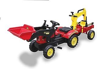 Tractor A Pedales con Pala Delantera, Remolque Y Retro Color
