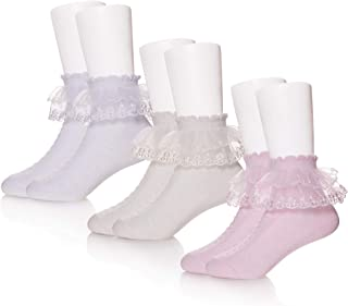 3/4/5 Pack Baby Toddler Girls Princess Frilly Socks Lace Ruffle Mesh Ankle Cotton Socks For 1-12T