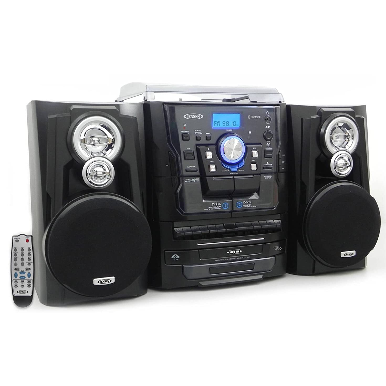 Jensen Bluetooth 3-Speed Stereo Turntable and 3 CD Changer with Dual Cassette Deck and AM/FM Radio & Remote Included