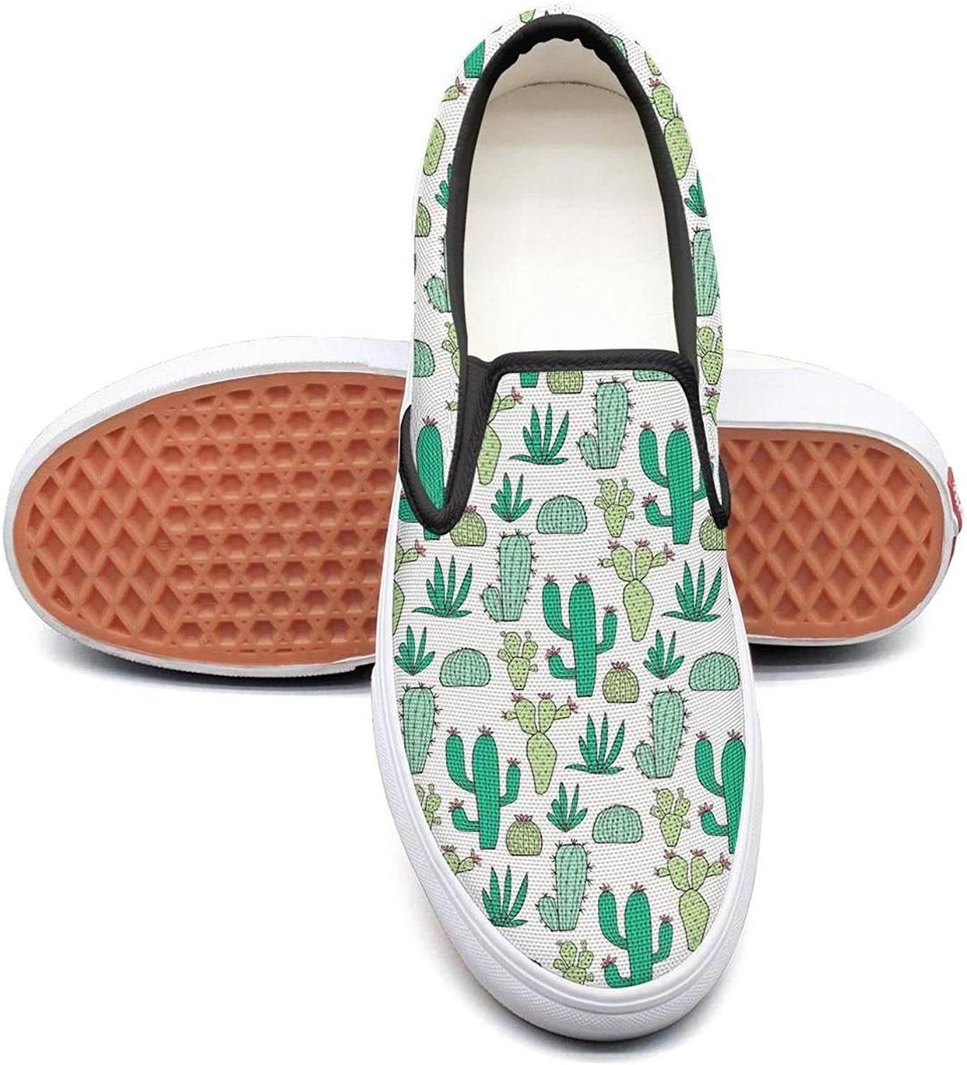 Sernfinjdr Women's Desert Green Cactus Flower Fashion Casual Canvas Slip on shoes Classic Cycling Sneakers
