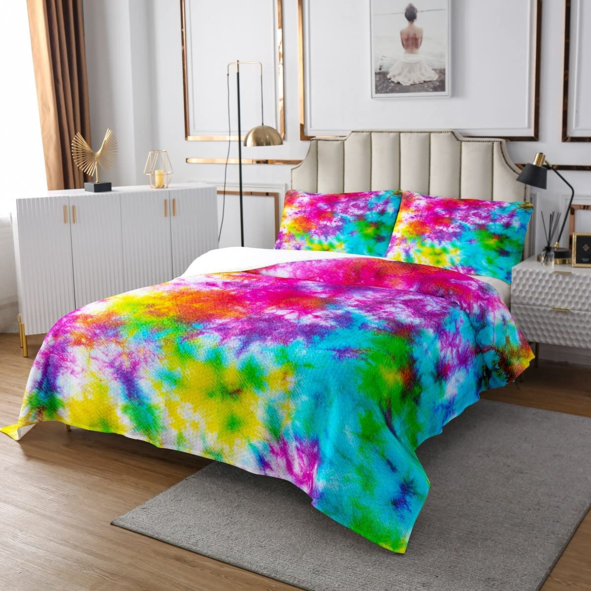 Indefinitely Castle Fairy Multicolored Tie Dye Pink Yellow Set Coverlet Quilt supreme