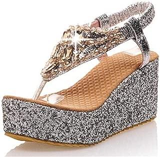 Ling-long Women Summer Beach Sandals Flip Flops Lady Slippers Women Gold Sliver Diamand Shoes Women Platform Wedge Shoes Big Size 47