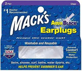 Mack's AquaBlock Earplugs - Comfortable, Waterproof, Ear Plugs for Swimming, Snorkeling and Showering, 13, 2 Pair - Clear,...