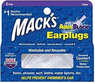 Mack's AquaBlock Earplugs - Comfortable, Waterproof, Ear Plugs for Swimming, Snorkeling and Showering