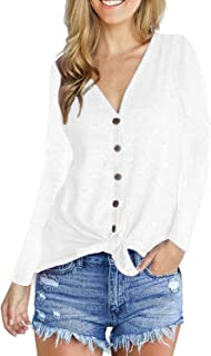 WTFBDREAM Womens Long Sleeve V Neck Tops Waffle Knit Button Down Shirts Blouse