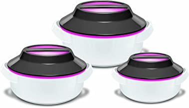 """Zinel """"MICROWOW Insulated Microwaveable Food Storage Hot Pot Casserole 3pc Set, Pink"""