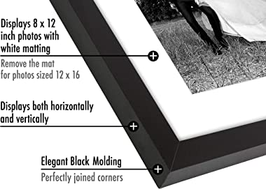Americanflat 12x16 Black Picture Frame | Displays 8x12 Photos with Mat and 12x16 Photos Without Mat. Shatter-Resistant Glass. Hanging Hardware Included!