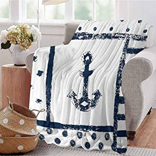 Luoiaax Anchor Bedding Flannel Blanket Grunge Murky Boat Anchor Silhouette with Polka and Stripe Retro Navy Theme Art Super Soft and Comfortable Luxury Bed Blanket W57 x L74 Inch Dark Blue White