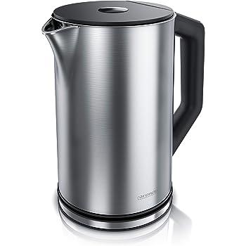 Arendo - Edelstahl Wasserkocher mit Temperatureinstellung 40-100 Grad in 5er Schritten - Doppelwand Design - Modell ELEGANT - 1,5 Liter - 2200 W - Teekocher mit Temperaturanzeige - GS - Silber