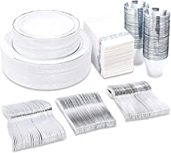 BUCLA 350PCS Silver Plastic Plates With Disposable Plastic Silverware&Napkins- Silver Rim Plastic Dinnerware Include 50Din...