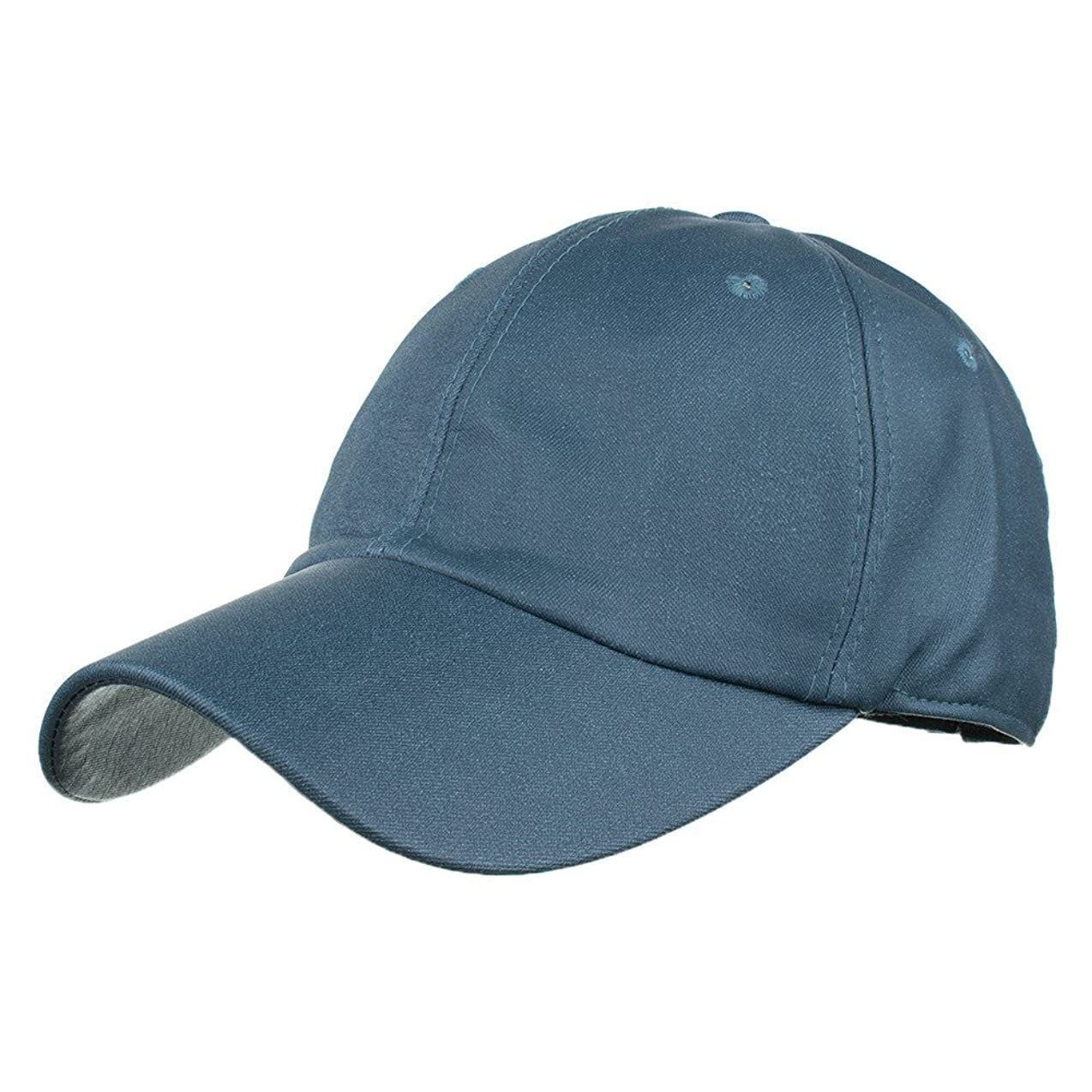 酸化するどこでもフィットRacazing Cap PU 無地 ヒップホップ 野球帽 通気性のある 帽子 夏 登山 可調整可能 棒球帽 UV 帽子 軽量 屋外 Unisex Hat (紺)