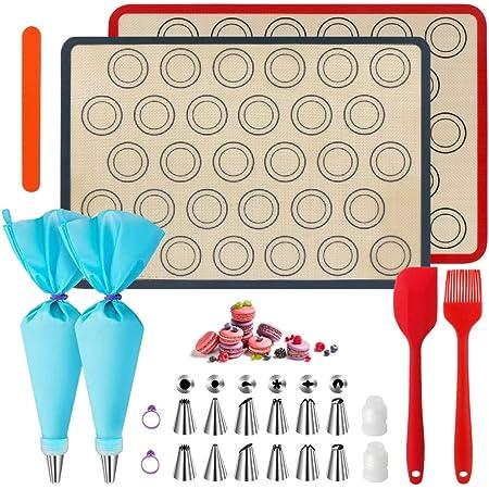 WeChip Tapis de Cuisson silicone patisserie,tapis de four macaron,kit de décoration de gâteau-sac de pâtisserie/Douilles pâtisserie/brosse en silicone/Spatule en silicone.