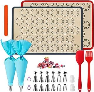 WeChip Tapis de Cuisson silicone patisserie,tapis de four macaron,kit de décoration de gâteau-sac de pâtisserie/Douilles p...