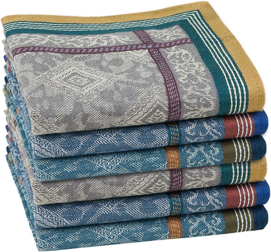 HJJACS 6PCs Fashion Square Cotton Jacquard Handkerchief for Men The Gentlmen Classic Style Fashion Vintage Handkerchief
