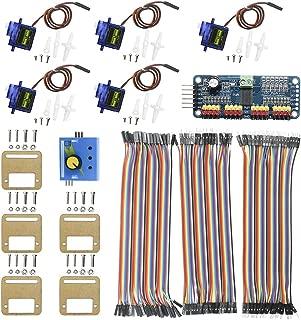 KeeYees Micro Servo Motor Kit with 5pcs SG90 9G Servo and Mount Holder Bracket + PCA9685 Module Servo Motor Driver IIC + RC Servo Tester 3CH ECS CCMP Speed Controller + 3pcs Dupont Jumper Wires