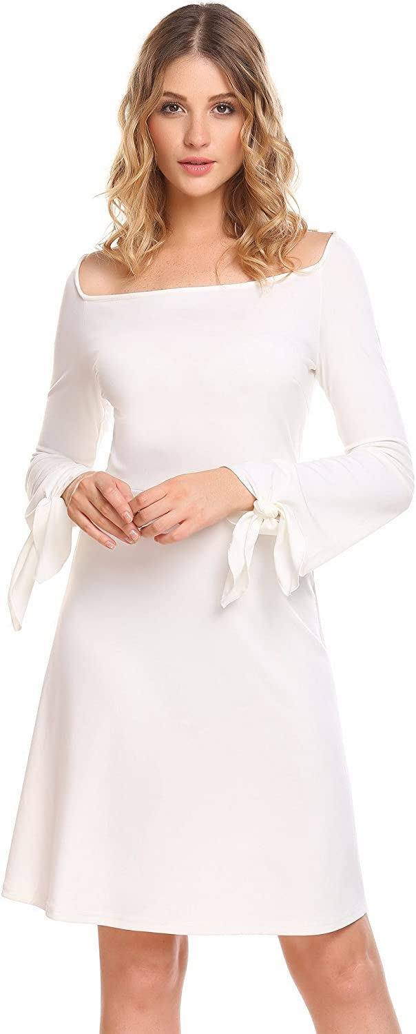ELESOL Women's Elegant Solid Knotted Flare Long Sleeve ALine Boatneck Party Dress