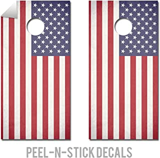 American Flag - Patriotic - Cornhole Crew - ACA Regulation Size Cornhole Board Decals