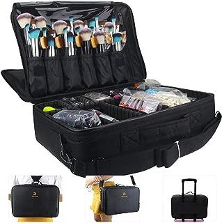 MONSTINA Large Capacity Makeup Case 3 Layers Cosmetic Organizer Brush Bag Makeup Train Case Makeup Artist Box for Hair Curler Hair Straightener Brush Set and Cosmetics 16.5x12x5.5 (L-Black)