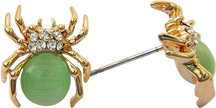 Navachi 18k Gold Plated Green Created-Opal Crystal Spider Az2405s Stud Earrings
