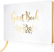 """J&A Homes Wedding Guest Book – Polaroid Album Photo Guestbook Registry Sign-in with Gold Foil & Gilded Edges – White Hardbound Book with Bookmark – 9"""" x 6"""" Small Gold (100 Pages)"""
